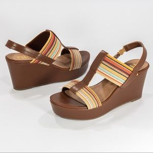 NICOLE Dixie Wedge Brown & Striped Sandal Wedges